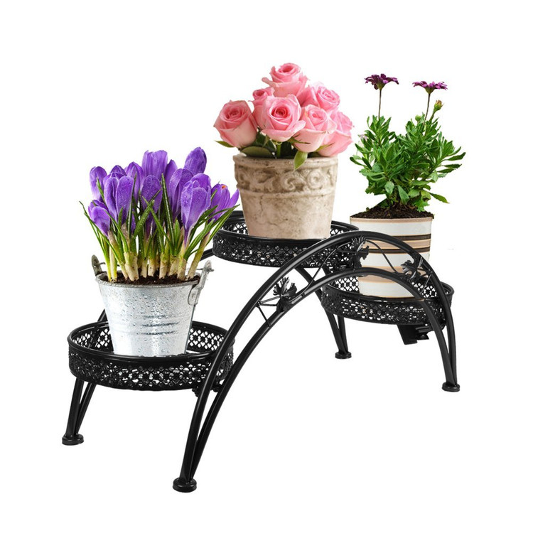 Dazone Wrought Iron Pot Plant Stand For Three Plants Indoor Or
