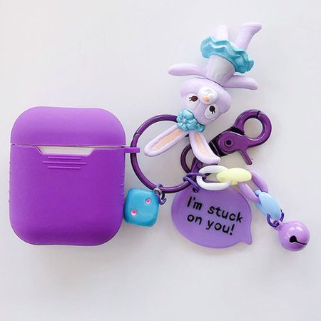 Fancyleo Cute Airpod Case Cover Portable with Cute Rabbit Keychain for Airpod Cute Airpod Case Cover Portable with Cute Rabbit Keychain for Airpod