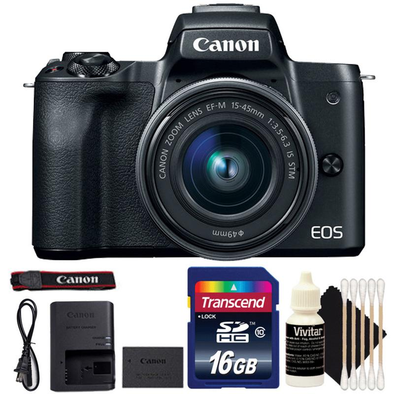 Canon EOS M50 Mirrorless Built-in Wifi Camera with 15-45mm Lens Black and 16GB Accessory Kit