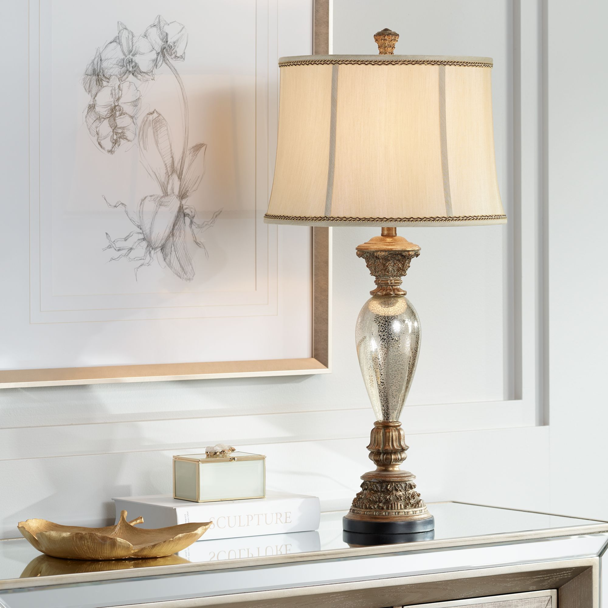 Barnes And Ivy Traditional Table Lamp Mercury Glass Golden