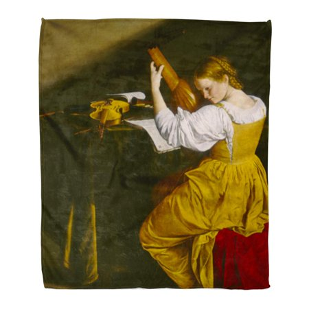 ASHLEIGH 58x80 inch Super Soft Throw Blanket The Lute Player by Orazio Gentileschi C 1612 20 Italian Renaissance Painting Home Decorative Flannel Velvet Plush Blanket