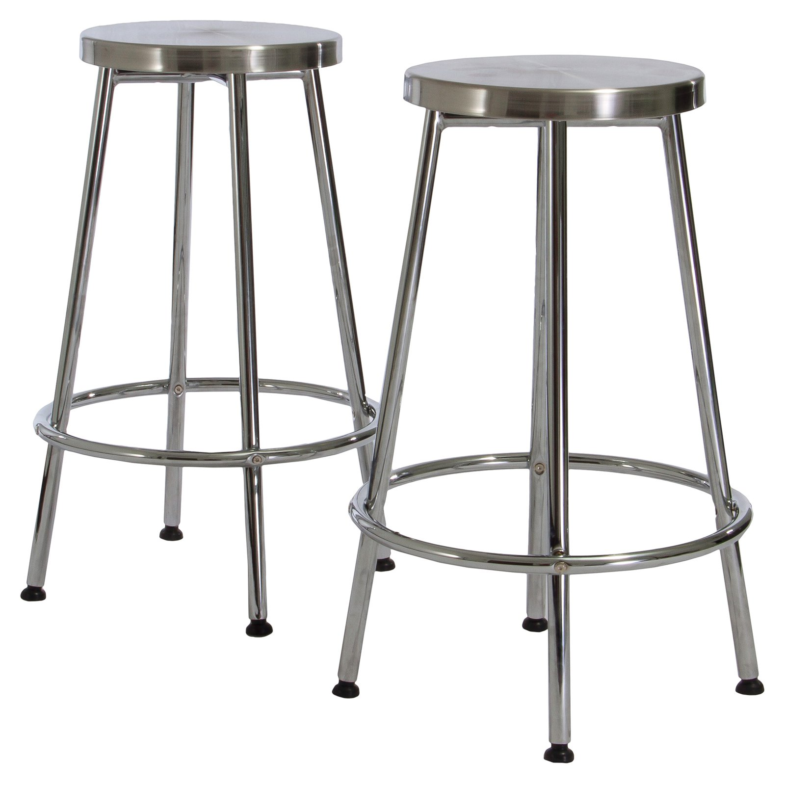 Mayworth Chrome Backless Bar Stools - 2 Pack