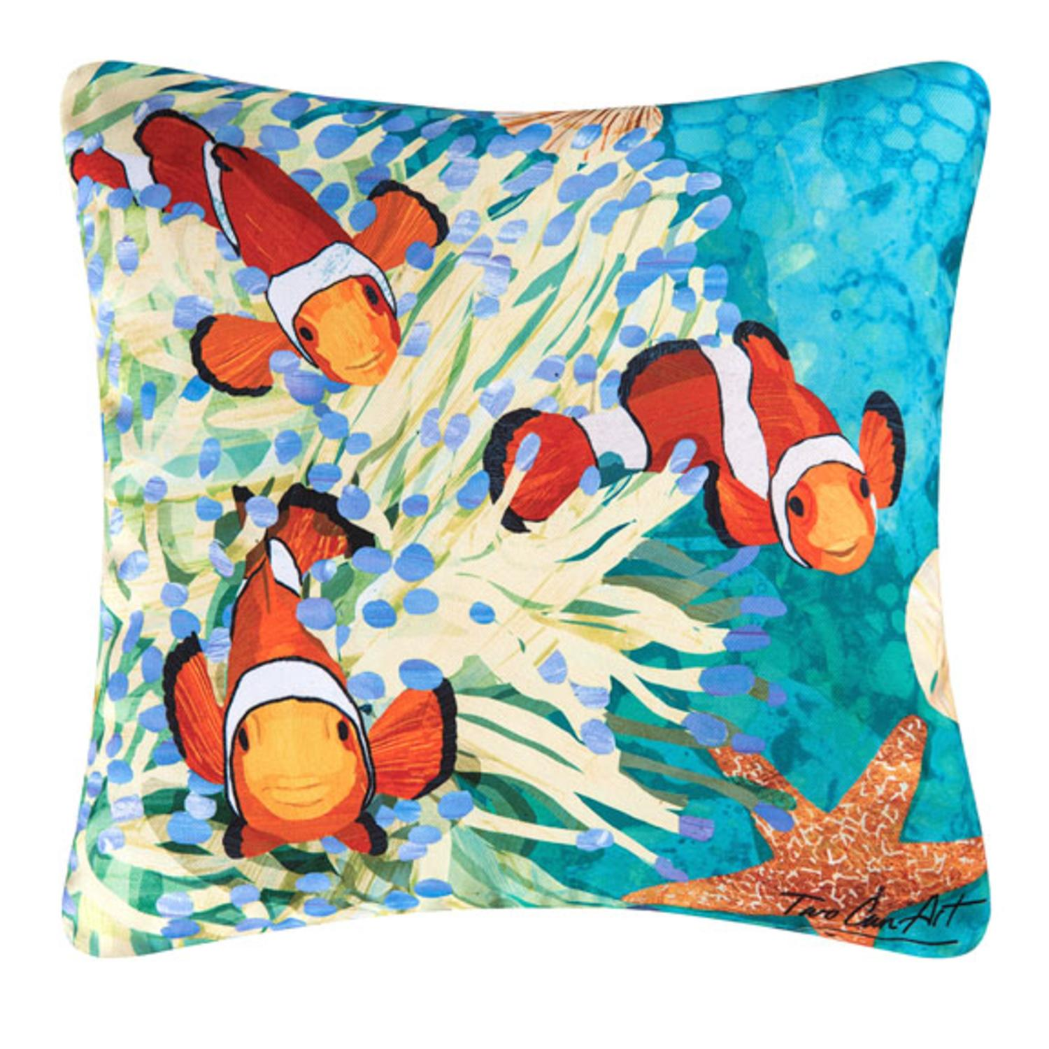 18 Tropical Coral Reef And Star Fish Square Outdoor Throw Pillow