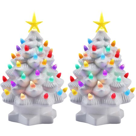 Mr Christmas 2 Pack 7 Porcelain Christmas Tree Decoration Color Led Lights Tabletop Holiday Decor