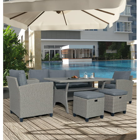 Patio Sectional Sofa Set, 6 Piece Outdoor Patio Furniture Set, Patio Set with 3-Seater Sofa, 2 Sofa Chairs, 2 Ottomans&Table, Patio Conversation Set for Backyard Pool Garden, Gray, W12086