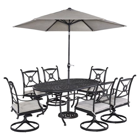 Home Style Outdoor Dining Oval Dining Table Swivel Chairs Umbrella