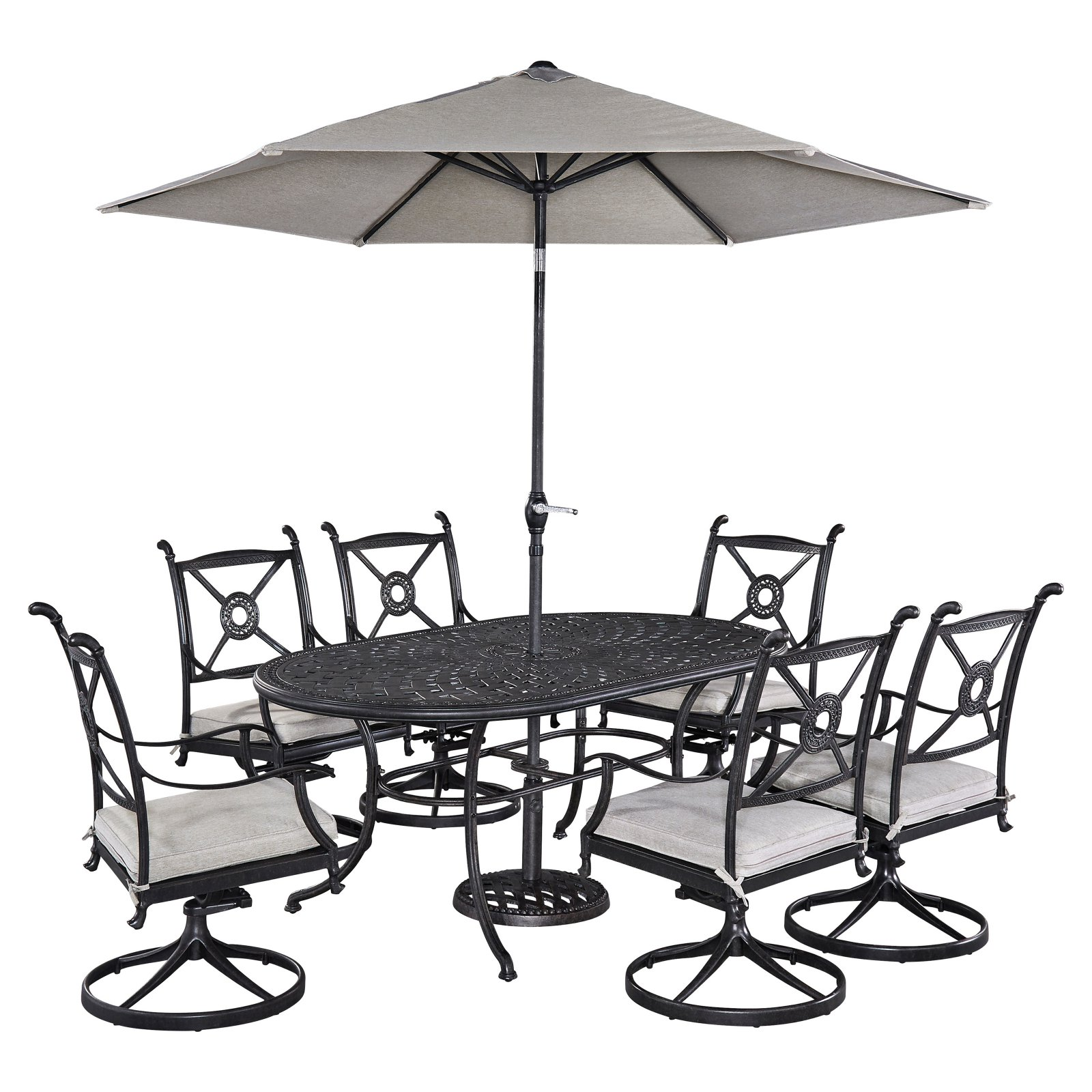 Home Styles Athens Outdoor 7pc Dining Set with Oval Dining Table, 6 Swivel Chairs and Umbrella