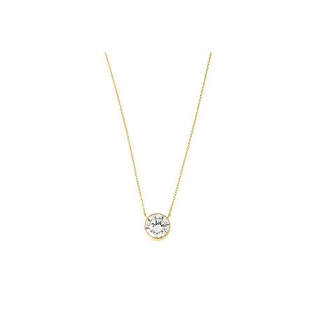 14k Yellow, White or Rose Gold Bezel Set Cubic Zirconia Solitaire Pendant Necklace, 16