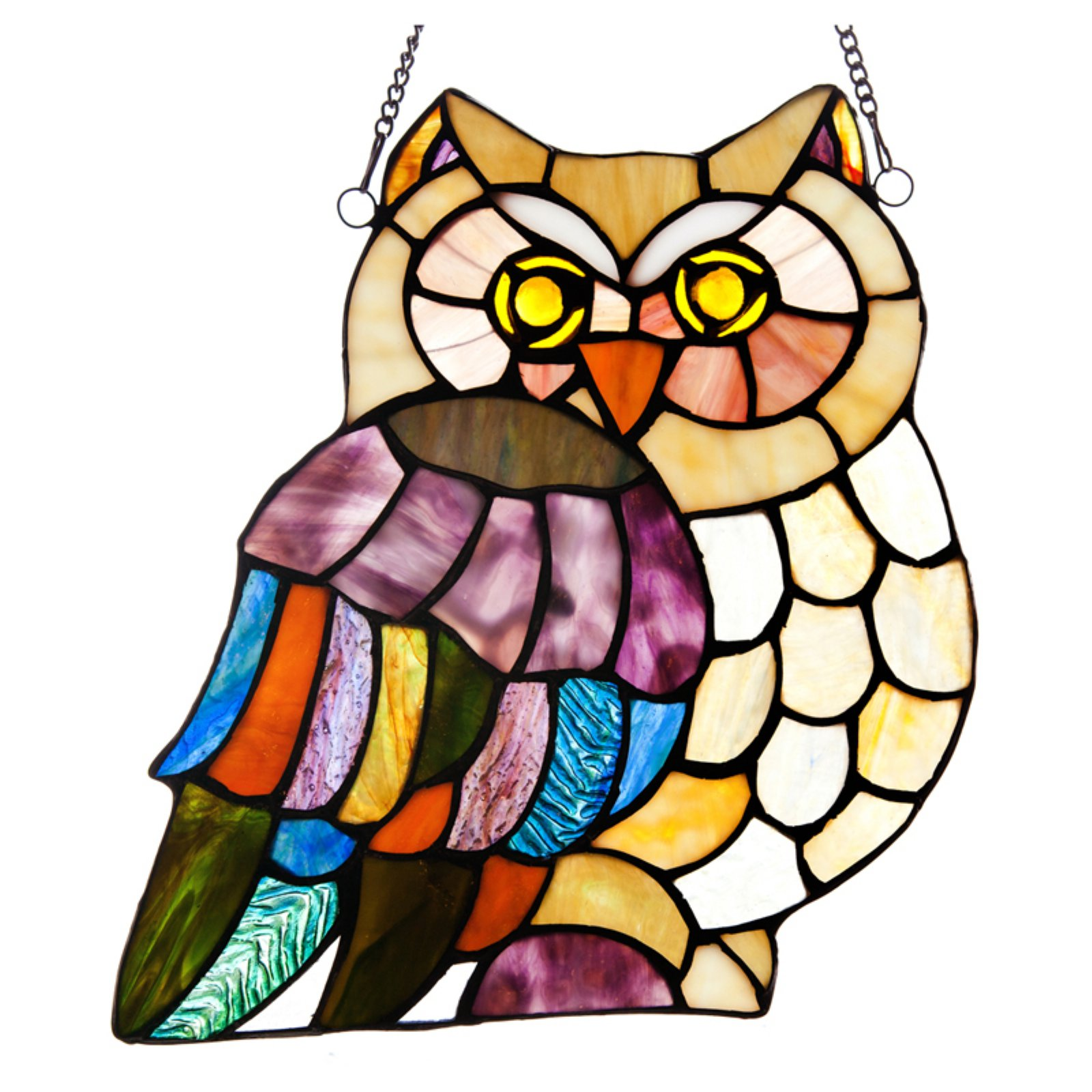 River of Goods Stained Glass Hoots Owl Window Panel