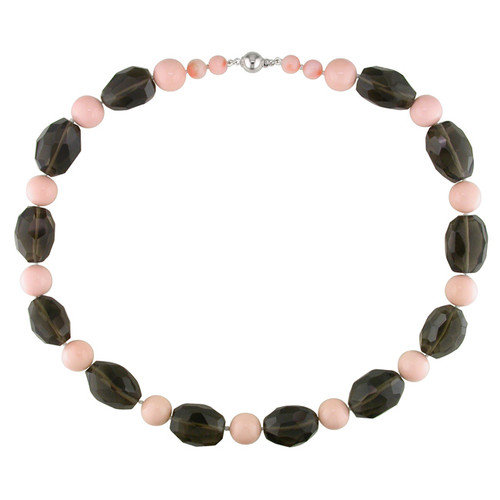 Amour Facetted Smokey Quartz Beads Necklace with Silver Ball Clasp