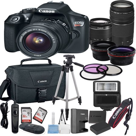 - Canon EOS Rebel T6 Digital SLR Camera w/ EF-S 18-55mm + 75-300mm Telephoto Zoom Lens  Bundle includes Camera, Lenses, Filters, Bag, Memory Cards, Tripod, Flash, Remote Shutter , Cleaning Kit, Replacem