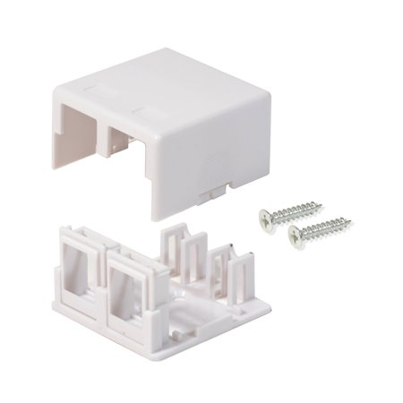 Keystone Jack Surface Mount Box - Surface Mount Box 2 Port Double Hole Keystone Jack Cat5e/Cat6 White 20 Pack