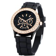 Black Ladies Women Girl Analog Silicone Quartz Golden Crystal Rhinestones Bling Jelly Wrist Watch