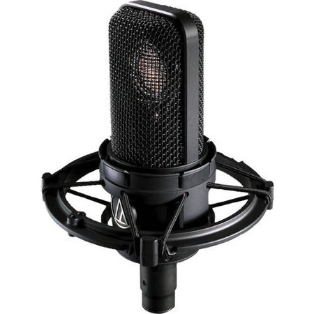 Audio Technica Cardioid Condenser Microphone W/suspended Mic Shock Mount, Case, Bag And Accessories