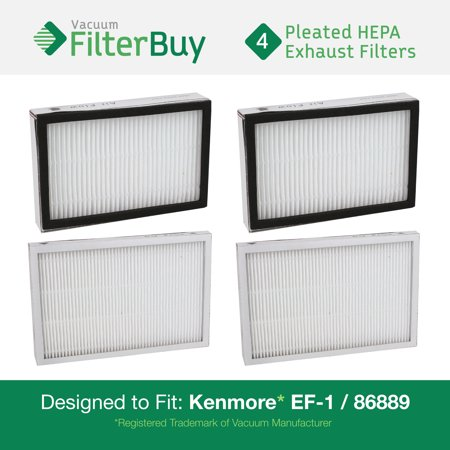4   Kenmore Ef 1 86889 Exhaust Vacuum Hepa Filters  Designed By Filterbuy To Replace Sears Kenmore Part   20 86889  86889   40324  Ef1  Also Replaces Panasonic Mc V199h