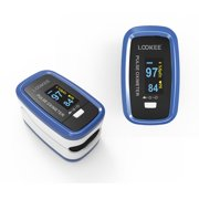 LOOKEE® LK50D1A Deluxe Finger Pulse Oximeter | Blood Oxygen Saturation Monitor with Auto-Rotate Screen, Plethysmograph Waveform | Health Canada Licensed | From a Canadian Brand