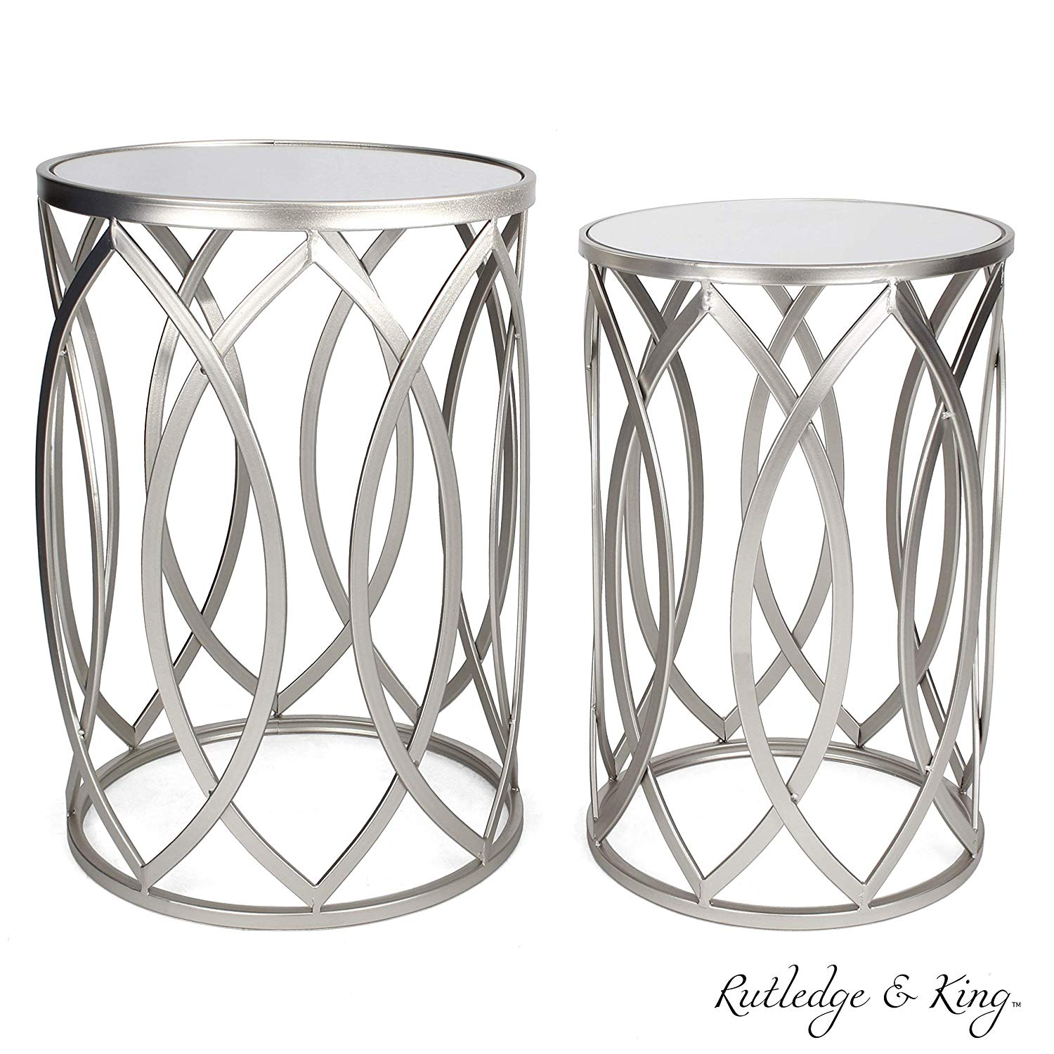 Round End Table Set Silver End Tables With Mirrored Tops Nesting Round Accent Tables Silver And Mirrored Metal Side Tables Rutledge King Blufton End Table Set Walmart Com Walmart Com