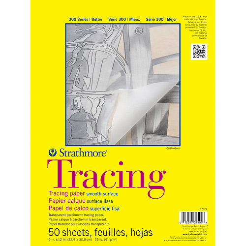 """Strathmore Tracing Paper Pad, 9"""" x 12"""", 25lb, 50 Sheets"""