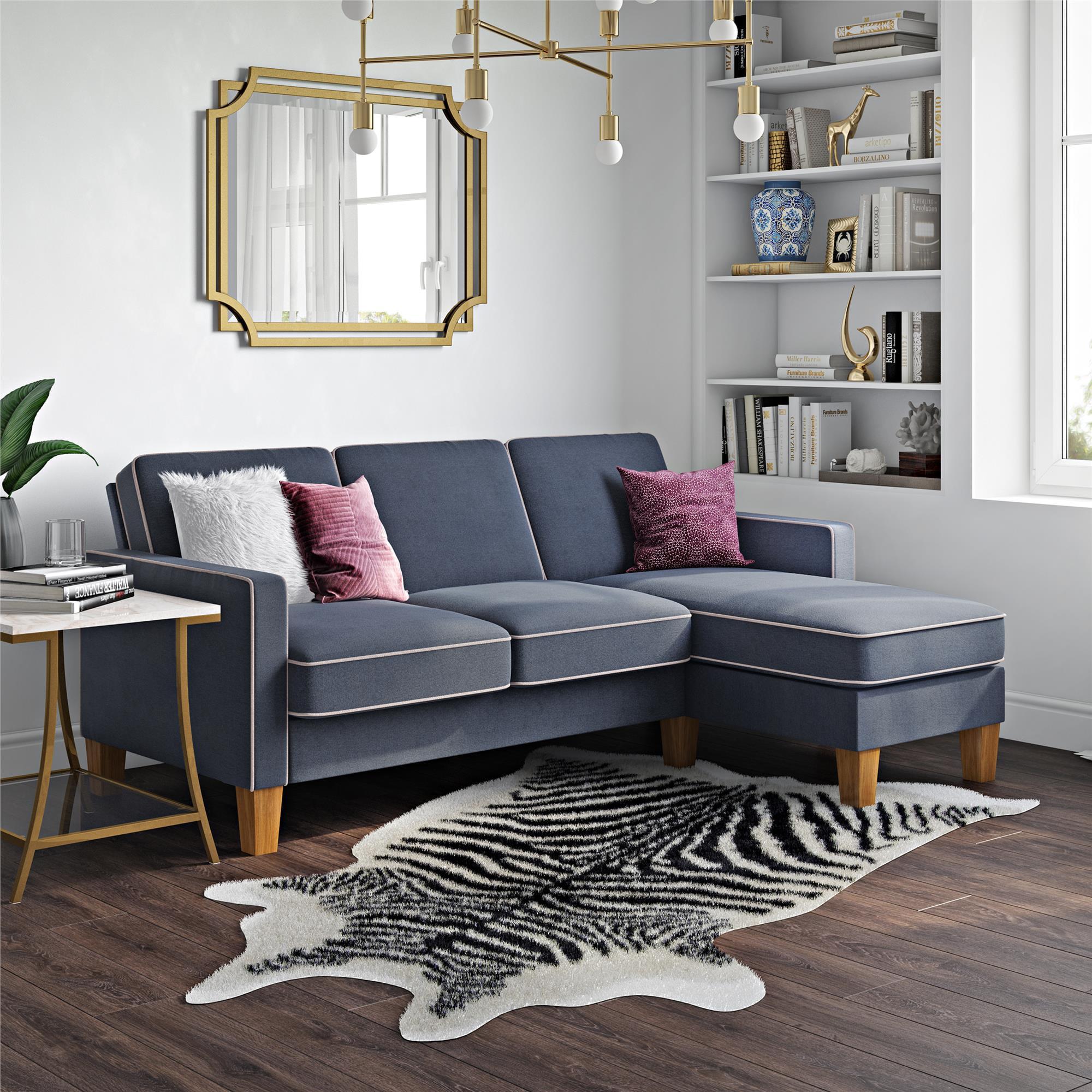 Novogratz Bowen Sectional Sofa with Contrast Welting, Blue ...