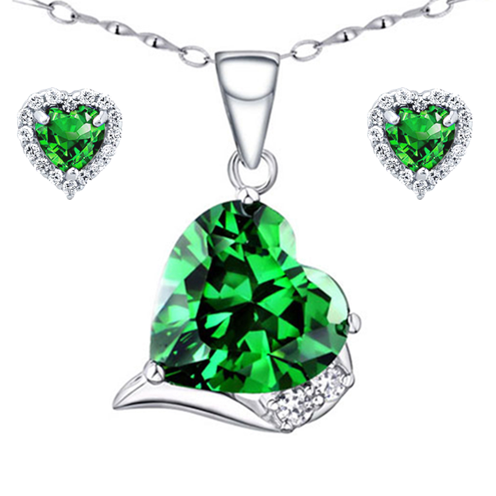 Devuggo 6.06 Carat TCW Heart Cut Gemstone Created Emerald  925 Sterling Silver Necklace Pendant and Earrings 3 Pieces Jewelry Set