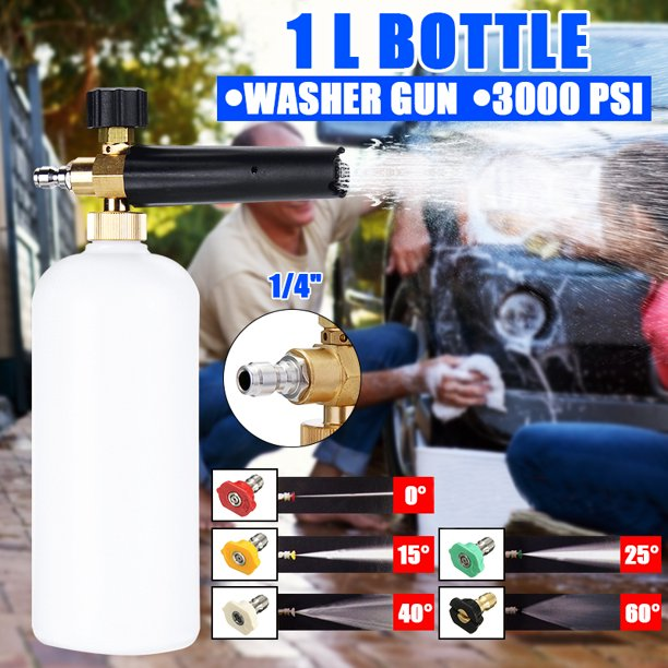 Adjustable Foam Cannon Snow Lance Foam 33 Fl Oz 1liter Bottle With 1 4 Quick Connector 5 Pressure Washer Nozzles For Cleaning Walmart Com Walmart Com