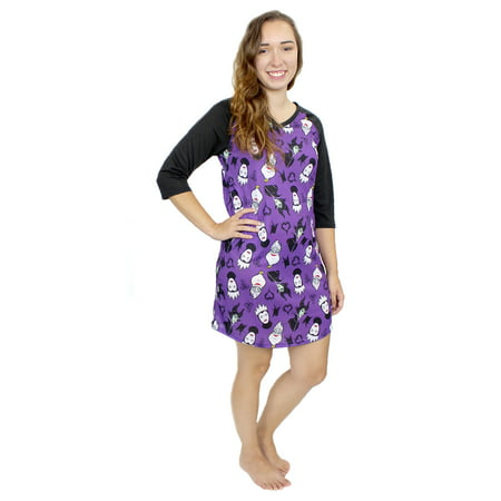 Disney Villains Women's 3/4 Sleeve Dorm Nightgown Pajamas DV012XDH (Female Disney Villains)