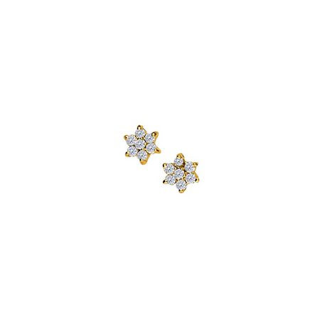 April Birthstone Diamonds 7 Stone Cluster Earrings in 14K Yellow Gold - image 2 of 2