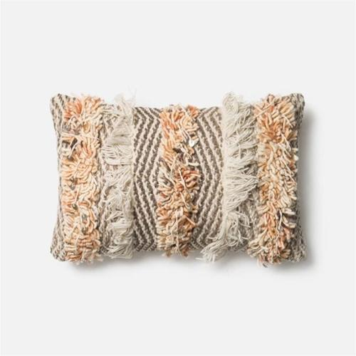 Loloi Rugs  P0343 Rust and Ivory  Pillows  Home Decor  ;13 X 21 with Down Insert