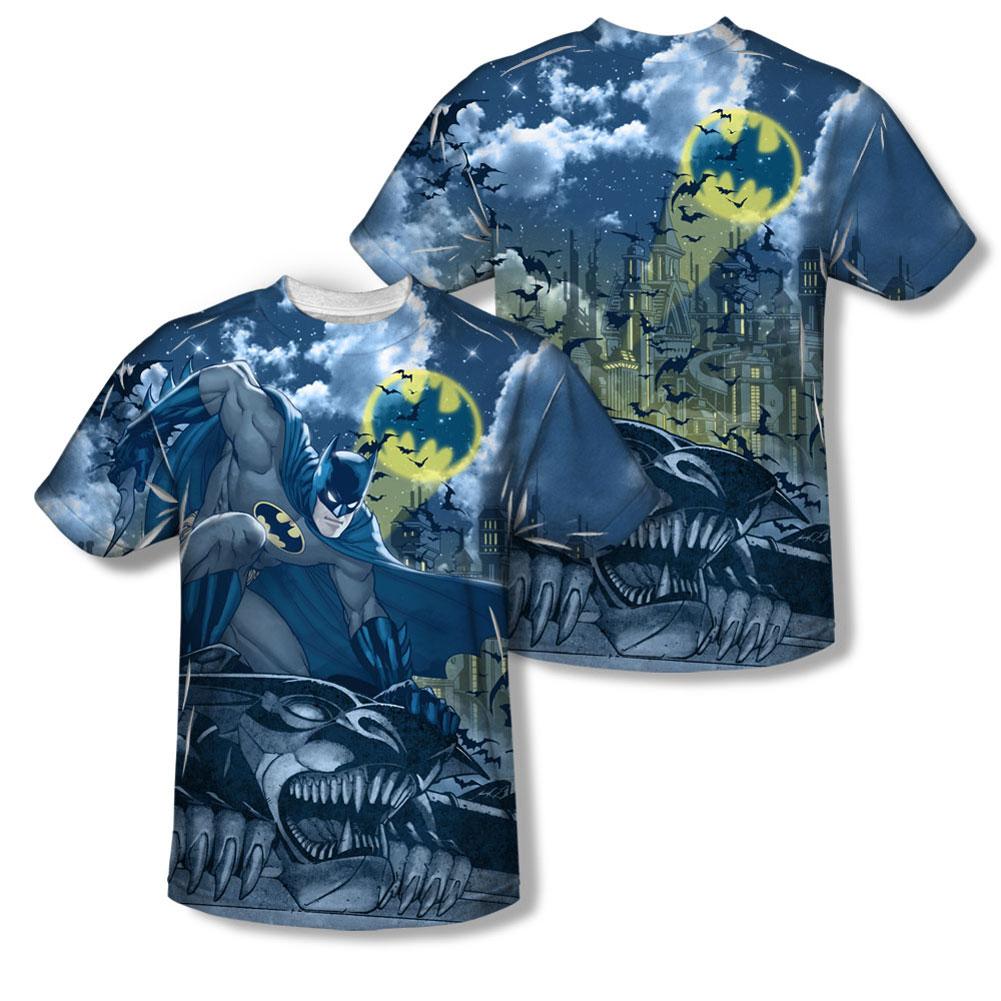 Batman Men's Gotham Gargoyle Sublimation T-shirt White by Trevco