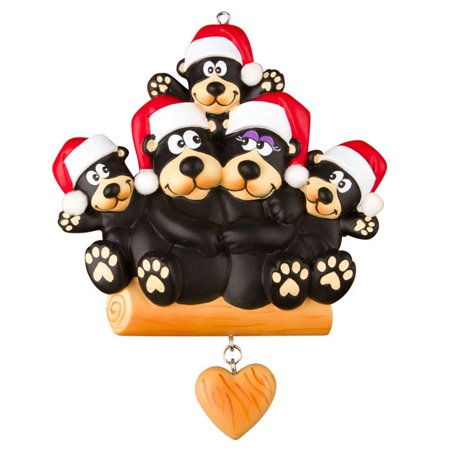Black Bear Family 5 Personalized Christmas Ornament DO-IT-YOURSELF