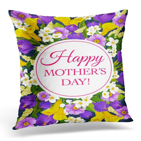 ARHOME Happy Mothers Day of Springtime Wishes and Floral Bunch for Seasonal Holiday Bouquet Blue Crocuses Pillow Case Pillow Cover 18x18 inch