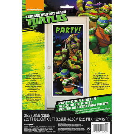 Plastic Teenage Mutant Ninja Turtles Door Party Decoration, 60 x 27 in, 1ct - Ninja Turtles Party Decorations