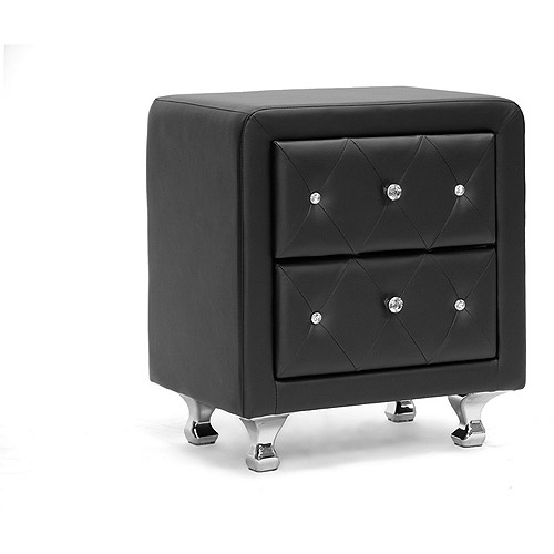 Stella Crystal Tufted Upholstered Modern Nightstand by Baxton Studio
