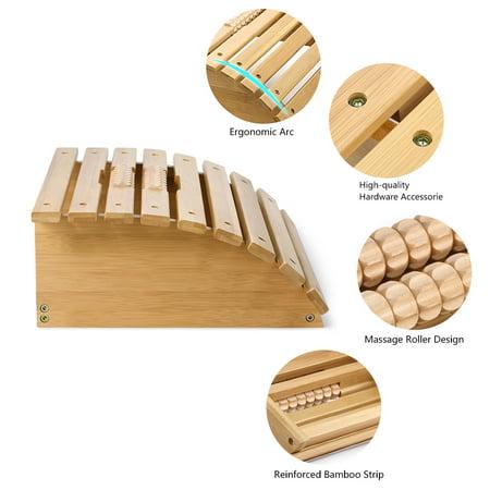 无 Footrest , Foot Stool,Ergonomic Bamboo Footrest Foot Stool Under Desk Footrest with Massager Rollers for Office Home - image 3 de 8