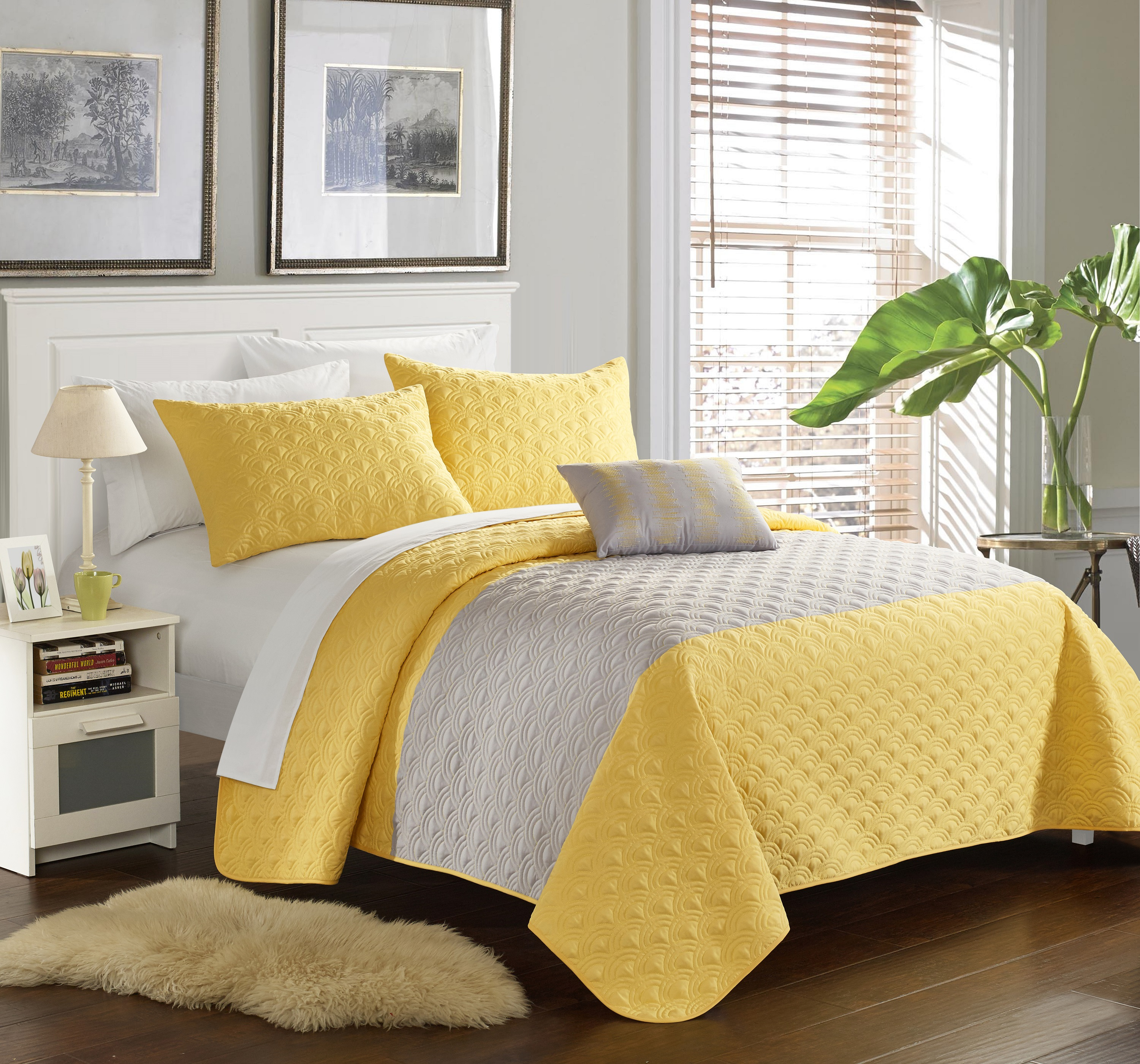 Chic Home 8-Piece Walker Geometric Quilting Embroidery Queen Quilt Set Yellow With White Sheets included