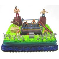 WWE Deluxe Birthday Cake Topper Wrestler Rumblers Wrestling Birthday Cake Featuring Random WWE Rumbler Figures and Decorative Themed Accessories