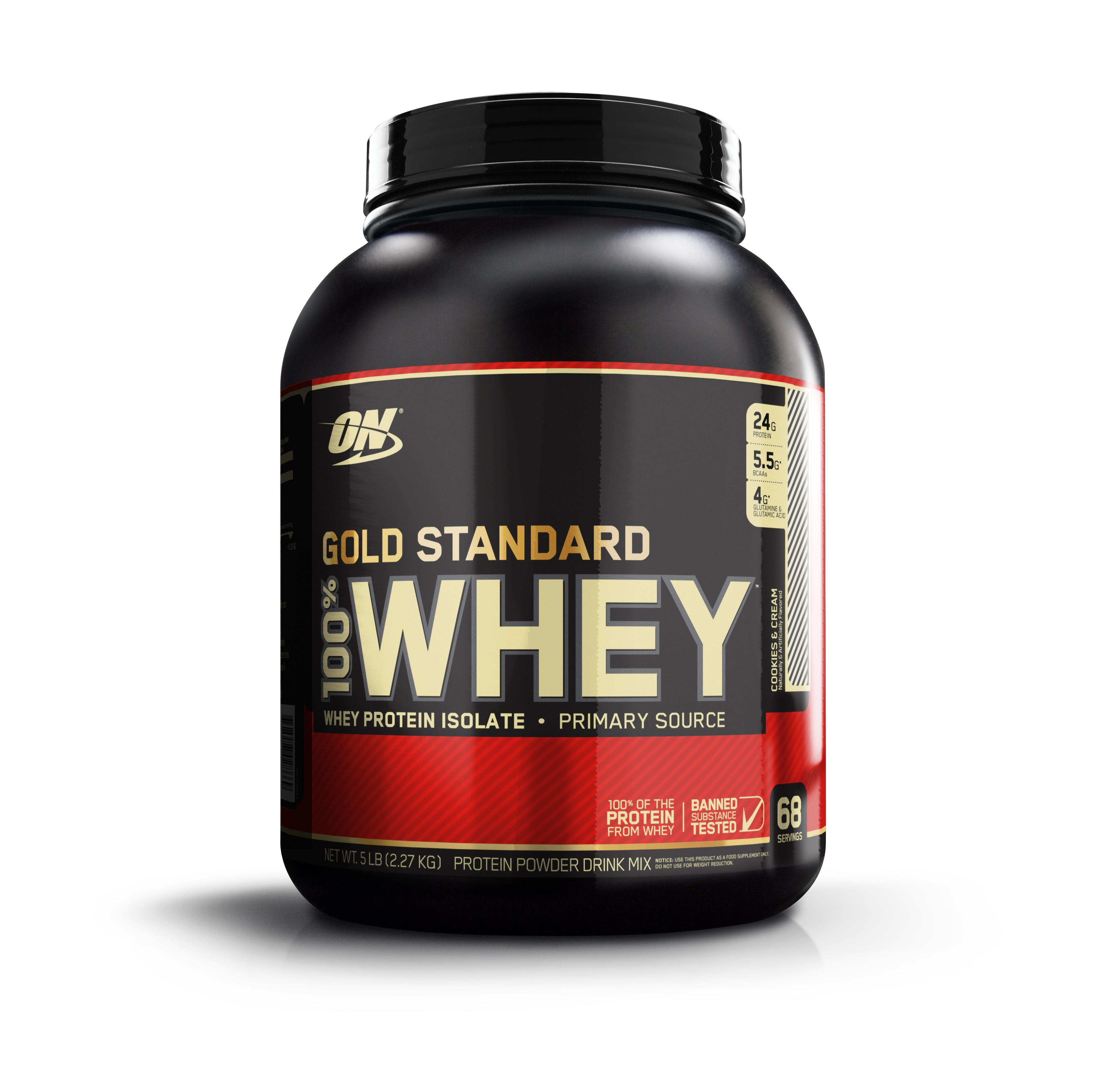 Optimum Nutrition Gold Standard 100% Whey Protein Powder, Cookies & Cream, 24g Protein, 5 Lb