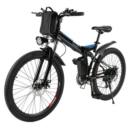 Folding Electric Mountain Bike (36V 250W) E-Bike with 26 Inch Wheel Bicycle , Large Capacity Lithium-Ion Battery , Premium Full Suspension and Shimano Gear