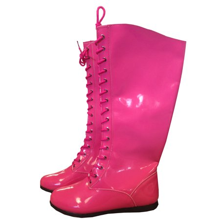Superhero Shoes For Adults (Pink Adult Pro Wrestling Boots WWF WWE Costume Super Hero Boxing Wrestler)