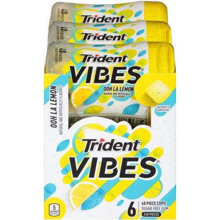f4f0bcc1bb40 Trident Vibes, Sugar Free Ooh La Lemon Chewing Gum, 40 Pcs, 6 Ct