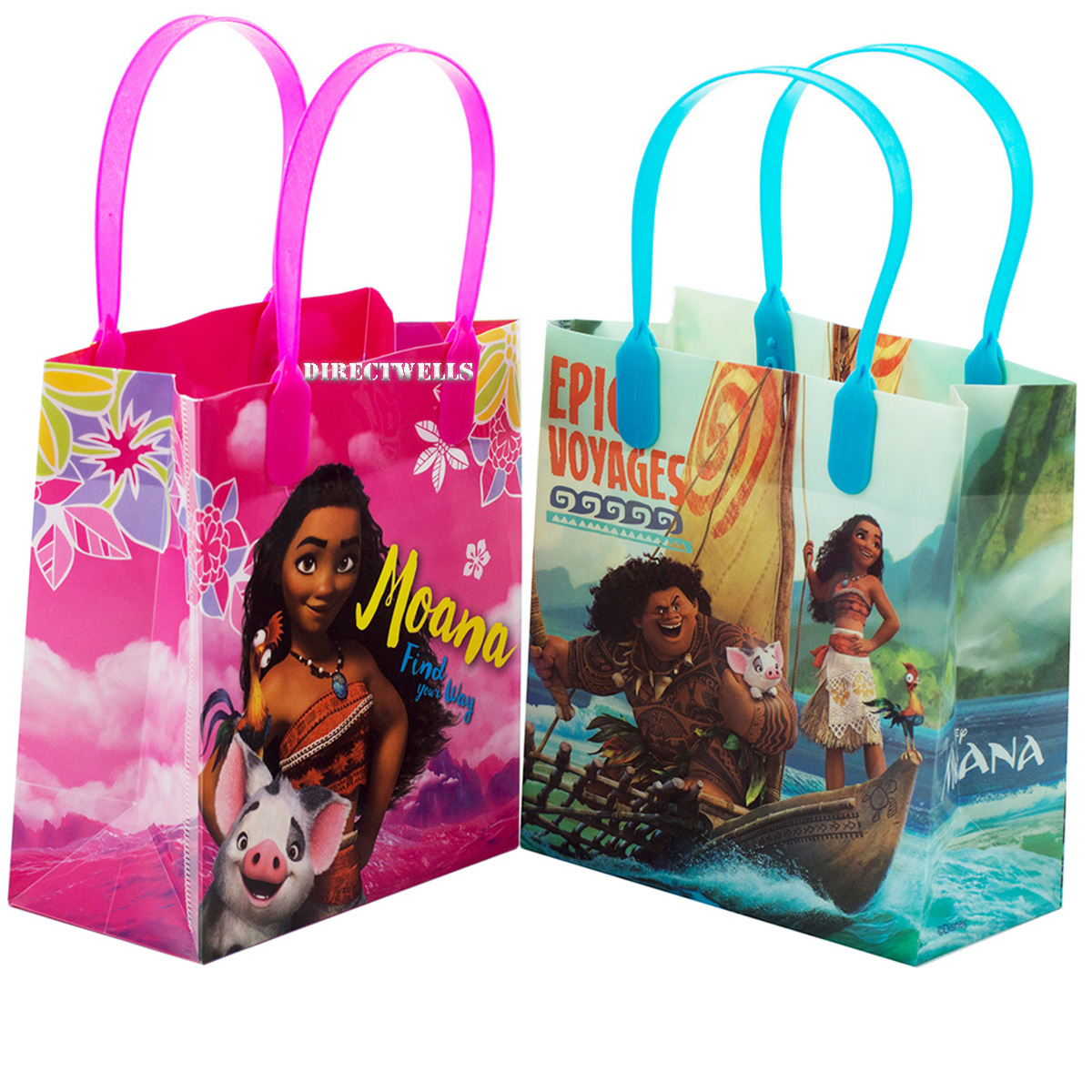 Moana and Maui 12 Authentic Licensed Party Favor Reusable Small Goodie Gift Bags 6""