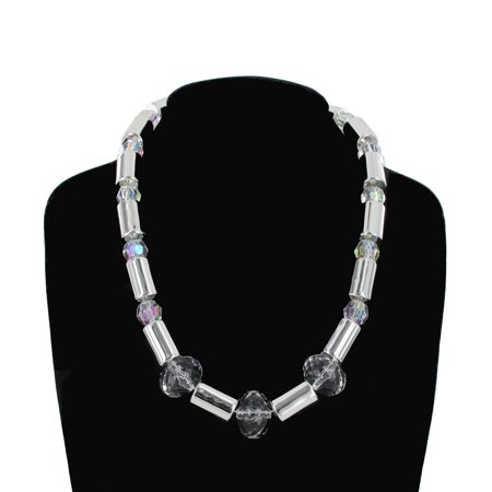 Silver Tone Tube Bead Graduated Faux Crystal Single Strand Necklace