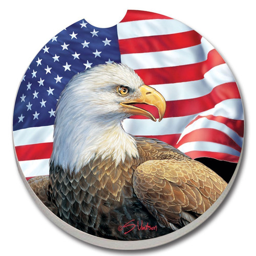 CounterArt Absorbent Stone Eagle and Flag Car Coaster (Set of 2)