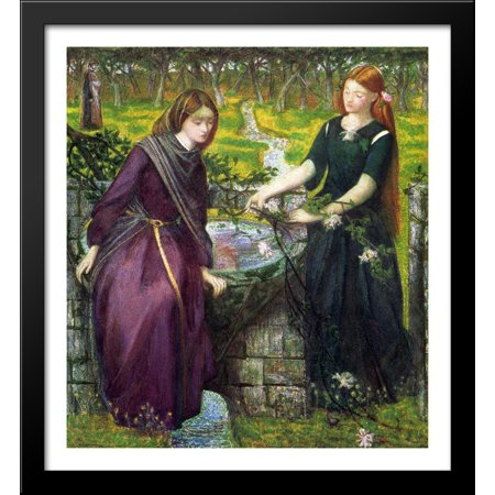 Dante S Vision Of Rachel And Leah 28X30 Large Black Wood Framed Print Art By Dante Gabriel Rossetti