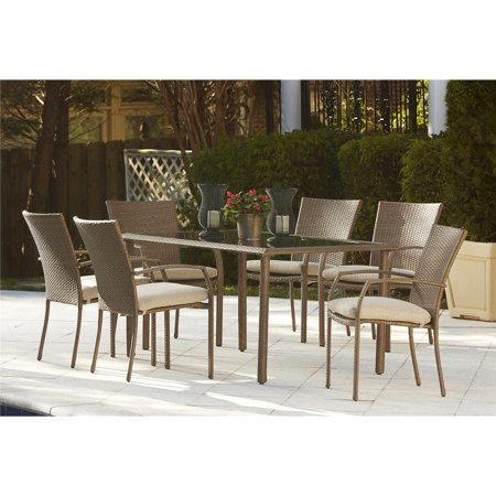 Cosco Outdoor Furniture 7-Piece Lakewood Ranch Steel Woven Wicker Patio Furniture Dining Set with Cushions, Brown