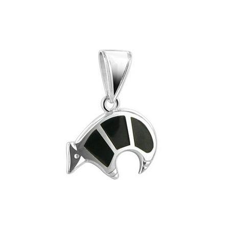 Gem Avenue 925 Sterling Silver Bear Black Onyx Inlay Pendant (Onyx Panda Bear)
