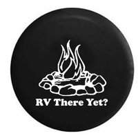 RV There Yet? Campfire Camping Trailer Spare Tire Cover Vinyl Black 27.5 in