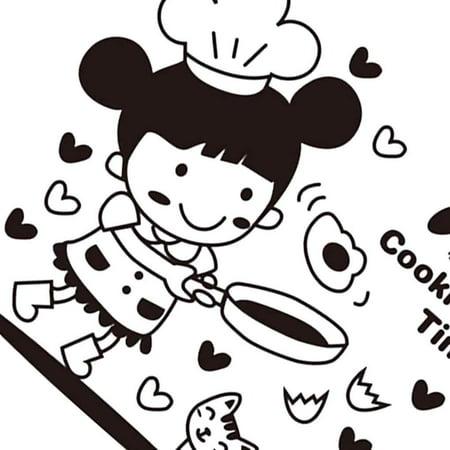 babydream1 Cartoon Little Girl Cooking Wall Decals Restaurant Kitchen PVC Waterproof Sticker Home Shop Removable Wallpaper - image 6 de 9