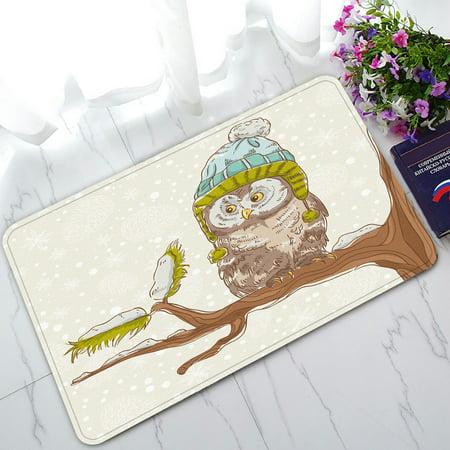 PHFZK Christmas Owls Theme Doormat, Cute Night Owl on the Branch Doormat Outdoors/Indoor Doormat Home Floor Mats Rugs Size 30x18 inches