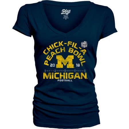 Michigan Wolverines Blue 84 Women's 2018 Peach Bowl Bound Hayneedle V-Neck T-Shirt - Navy Your Michigan Wolverines have had an incredible season, and it will only get better as they head to the 2018 Peach Bowl! Cheer your team to a victory as you wear this Blue 84 Hayneedle V-Neck T-Shirt. Crisp graphics will put your Michigan Wolverines fandom front and center, ensuring you're the #1 fan everywhere you go.